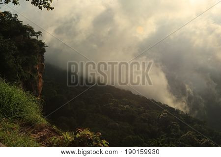 Nature backgrounds/Dramatic clouds and,mist  with mountain and tree:  Mist  Pha(cliff ) mo  e-daeng,sisaket,northeast,Thailand