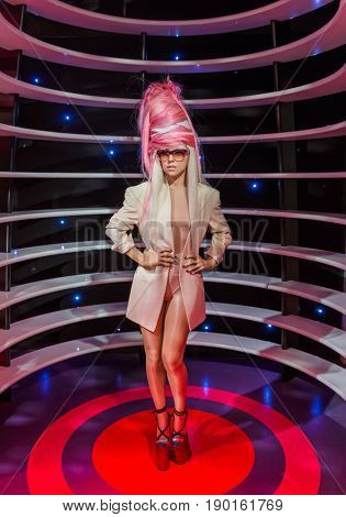 AMSTERDAM, NETHERLANDS - APRIL 25, 2017: Lady Gaga wax statue in Madame Tussauds museum on April 25, 2017 in Amsterdam Netherlands.