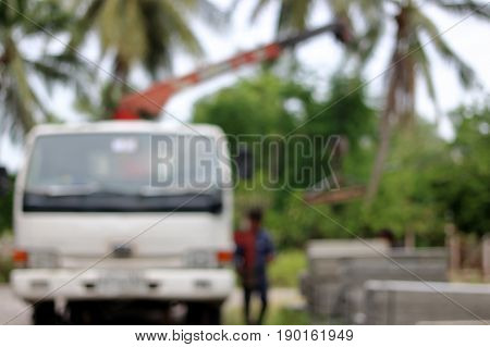 Blurred abstract background of truck crane while work