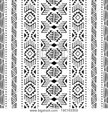 Ethnic Seamless Pattern. Vertical Orientation. Black And White Ornament Handmade. Tribal And Aztec M