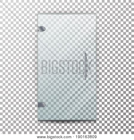 Glass Door Transparent Vector. Architectural interior symbol With Soft Shadow In Front On Checkered Background