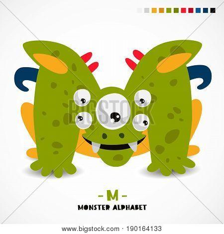 Monster alphabet. Letter M. A strange animal. Vector illustration on white background. Great children's print. The concept of a kid's toy.
