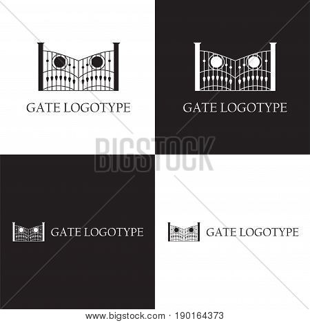 Vector eps logo design for company with gate illustration and place for monogram letters
