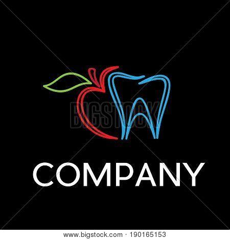 Vector sign dentist. Bite the apple on black background