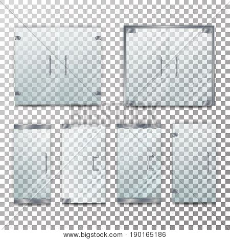 Glass Door Transparent Vector. Front For Office Or Boutique. Clear Showcase Facade. On Checkered Background