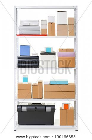 white metal rack with boxes, isolated object photo