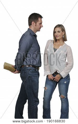 Husband or boyfriend giving a present or gift to his wife or girlfriend