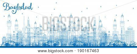 Outline Baghdad Skyline with Blue Buildings. Business Travel and Tourism Concept with Historic Buildings. Image for Presentation Banner Placard and Web Site.