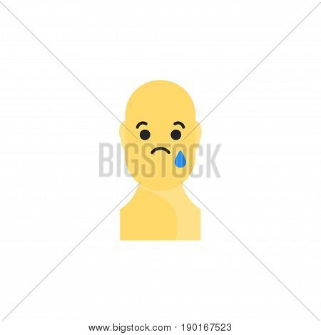 Sad Yellow Smiley. Like Social Icon. Button For Expressing Social Emoji. Flat Vector Illustration Ep