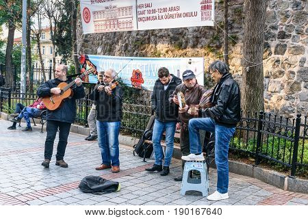 Group Of Musicians Playing On The Street In Istanbul. Turkey