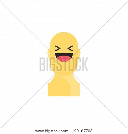 Laughing Yellow Smiley In Body. Like Social Icon. Button For Expressing Social Emoji. Flat Vector Il