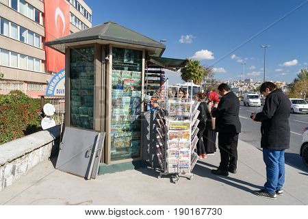 Istanbul Turkey - November 02 2016: Newspaper kiosk on the street. People buy newspapers.