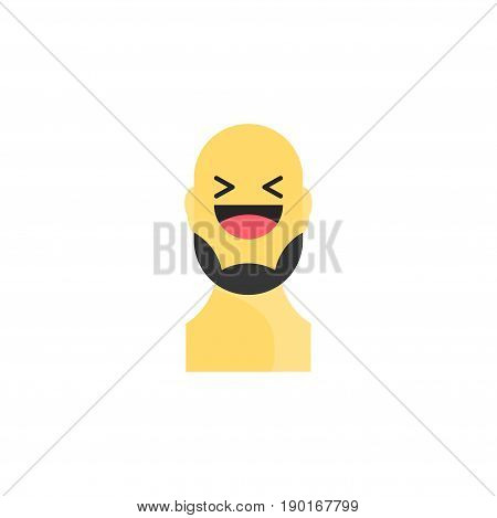 Laughing Yellow Smiley With Beard. Like Social Icon. Button For Expressing Social Emoji. Flat Vector