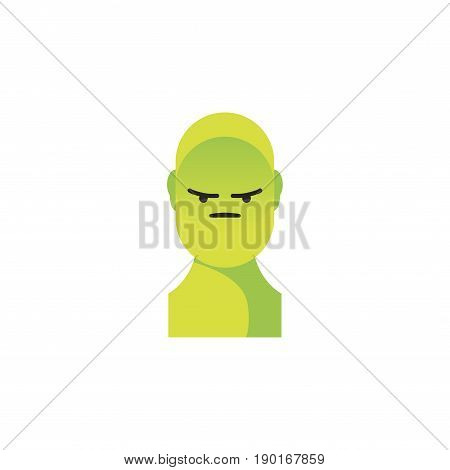 Angry Green Smiley. Like Social Icon. Button For Expressing Social Emoji. Flat Vector Illustration E