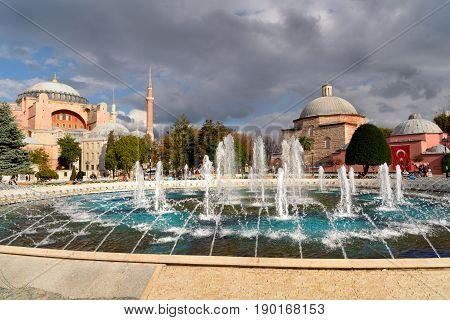 Fountain And Hagia Sophia In Istanbul.turkey