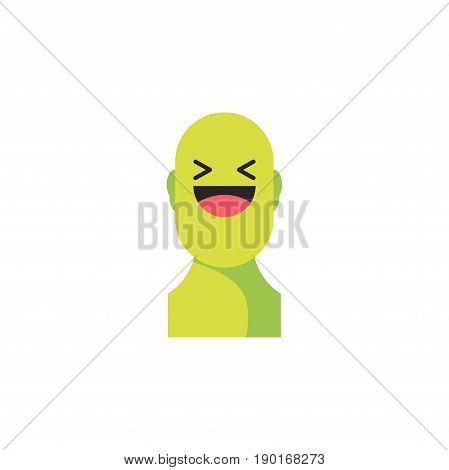 Laughing Green Smiley. Like Social Icon. Button For Expressing Social Emoji. Flat Vector Illustratio