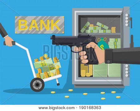 Hand of thief holding pistol and hand truck full of money and coins, steel safe. Robbery concept. Vector illustration in flat style