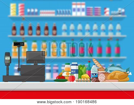 Supermarket interior. Cashier counter workplace. Food and drinks. Shelves with products. Cash register, pos terminal and keypad. Vector illustration in flat style