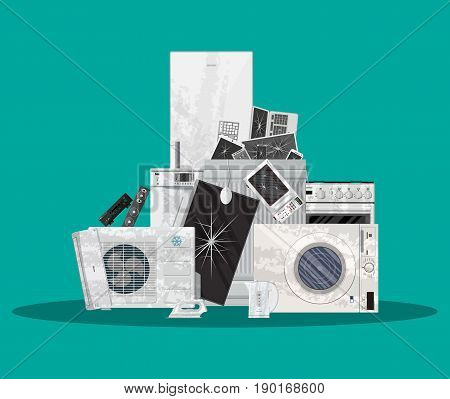 E-waste electrical and electronic equipment pile. Computer and home electronic waste stack. Trash, recycling, ecology. Vector illustration in flat style