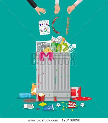 Steel garbage bin full of trash. Overflowing garbage, food, rotten fruit, papers, plastic containers and gloves, paint and glass. Vector illustration in flat style