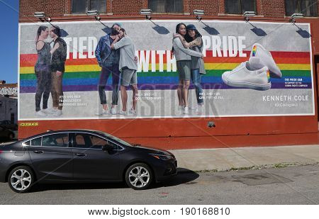 BROOKLYN, NEW YORK - JUNE 4 , 2017: Kenneth Cole Tied with Pride advertising in Brooklyn, New York