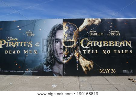 BROOKLYN, NEW YORK - JUNE 4 , 2017: Pirates of the Caribbean: Dead Men Tell No Tales advertising in Brooklyn, New York