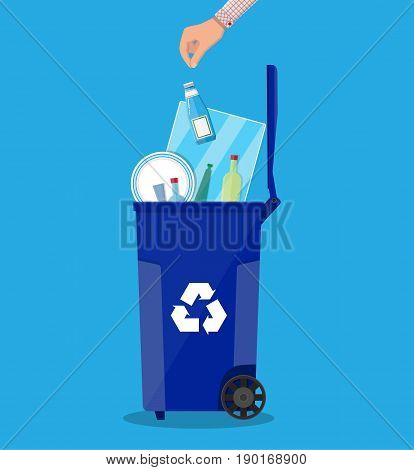 Trash recycle bin container for garbage full of glass things. Bin for glass. Vector illustration in flat design