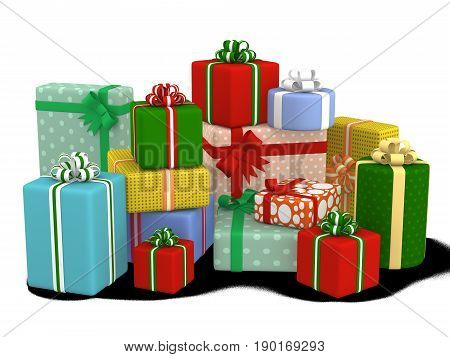 colorful wrapped gift boxes. 3D illustration isolated on white background.
