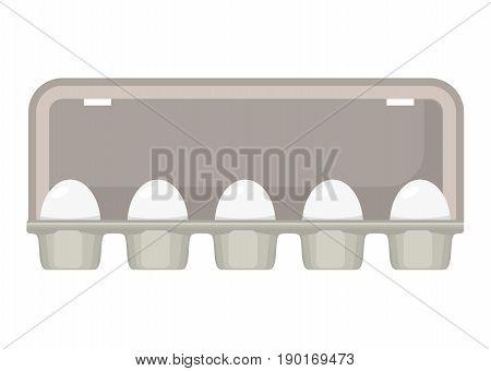 Vector illustration egg box with white fresh chicken eggs. Egg container. Vector illustration in flat style