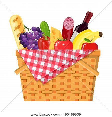 WIcker picnic basket with gingham blanket full of products. Bottle of wine, sausage, bacon, cheese, apple, tomato, cucumber. Vector illustration in flat style