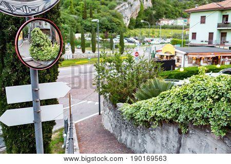 Old stone street of Limone sul Garda view, Lago di Garda, Lombardy, Italy.