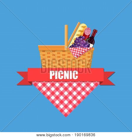 WIcker picnic basket with gingham blanket full of products. Vector illustration in flat style