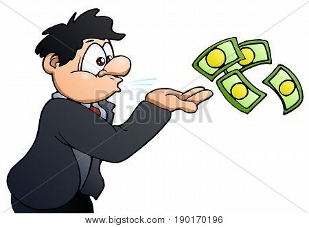 illustration of a man blowing money on isolated over white background