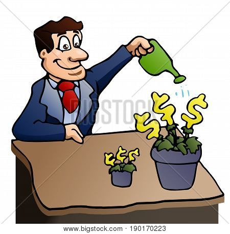illustration of a businessman watering a money plant on isolated white background