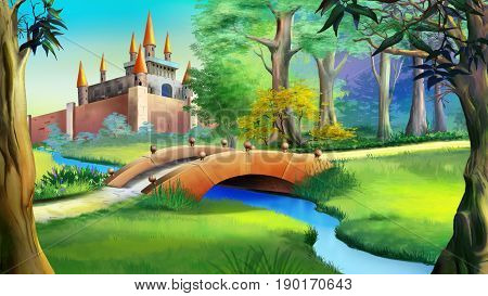 Landscape with Fairy tale castle in a forest and small bridge over the blue river. Digital painting background Illustration in cartoon style character.