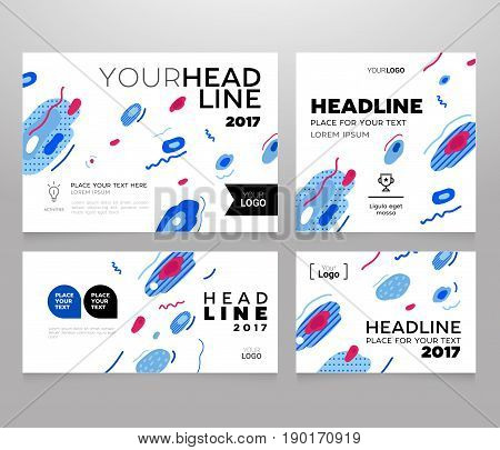 Headline Banner - vector template illustration poster with abstract flat design background. Make your idea look good, promote it. Headline and topic. Modern outlook with different shapes. Copy space for your logo.