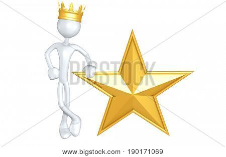 King The Original 3D Character Illustration With A Star