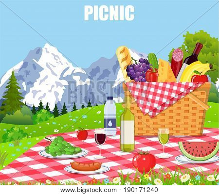 Picnic in the Mountains. WIcker picnic basket full of products. Vector illustration in flat style