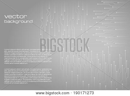 Abstract technological gray background with elements of the microchip. Circuit board background texture. Vector illustration.