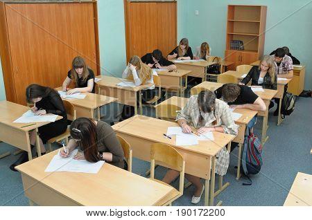 Gadjievo, Russia - May 22, 2010: High school students decide a test task