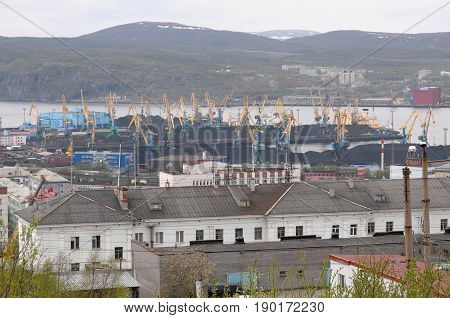 Murmansk, Russia - May 25, 2010: View of the coal terminal of Murmansk port