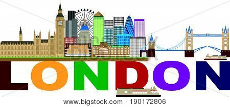 London England Skyline Panorama with Tower Bridge and Westminster Palace with Color Text vector  Illustration