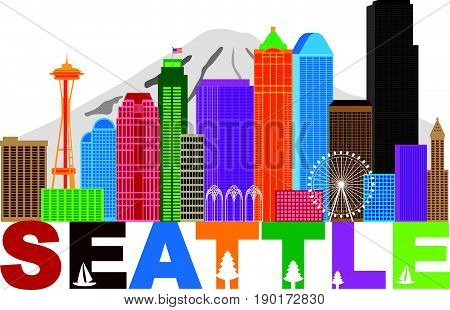 Seattle Washington Downtown City Skyline and Text in Colors Isolated on White Background vector Illustration