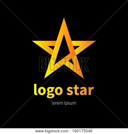 Logo gold gradient star. Branding of company. Golden design elements. - stock vector