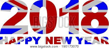 2018 Happy New Year Great Britain Union Jack Flag Numbers Outline Isolated on White Background Illustration
