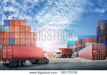 Logistics import export background and transport industry of Container Cargo freight ship at blue sky