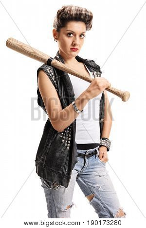 Punk girl with a bat isolated on white background