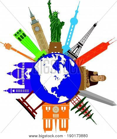 World Globe Travel with Country of tourist attraction destination places from Europe Asia United States Color Illustration