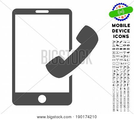 Call Smartphone icon with digital pictogram clip art. Vector illustration style is a flat iconic symbol, gray colors. Designed for web and software interfaces.