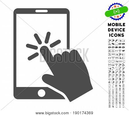 Click Smartphone icon with mobile communicator icon pack. Vector illustration style is a flat iconic symbol, gray colors. Designed for web and software interfaces.